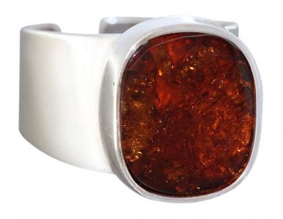 Ring Sterlingsilber 925 Bernstein Ring breiter echt Silber Damenring
