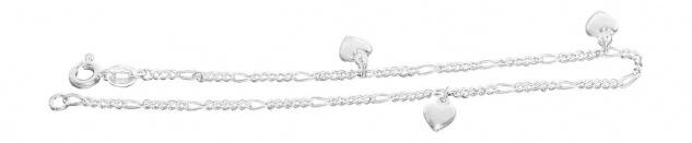 Sexy Fußkettchen Silber 925 mit Herz Anhängern Silberkette Fußkette Figarokette