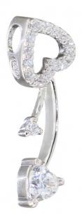 Herz Anhänger Silber 925 mit Zirkonias Silberherz Silberanhänger funkelndes Herz