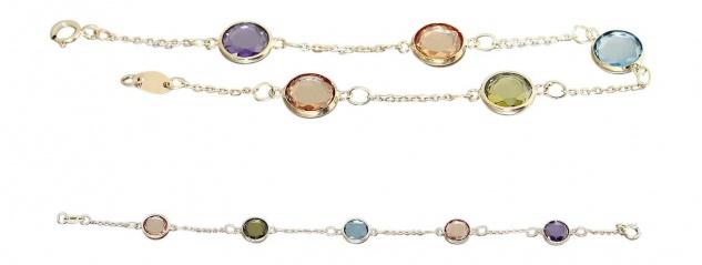 Armband Gold 585 multicolor Zirkonias Armband Armkette Goldkette Damen 14 Kt.