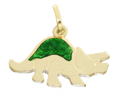 Anhänger Gold 750 Dinosaurier mit Email Goldanhänger massiv Dino 18 Karat