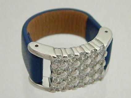 Silberring mit Lederband prachtvoller weißer Glanz Ring Silber 925