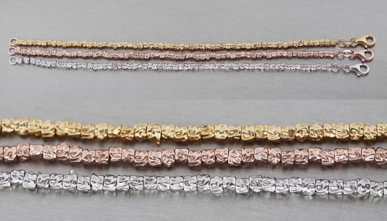 18 cm Silberarmband 925 - Armband Silber Gold Rotgold - Armkette Rosegold massiv