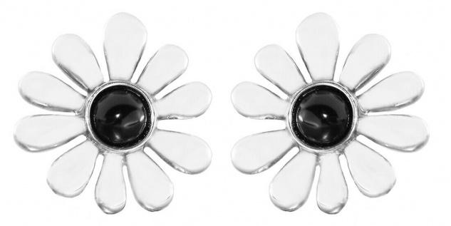 Ohrstecker Silber 925 Margeriten mit Onyx Ohrringe massiv Ohrschmuck Damen