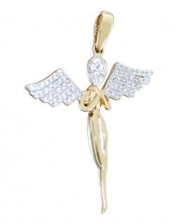 Anhänger Gold 585 Schutzengel mit Zirkonias eleganter Kettenanhänger Kommunion