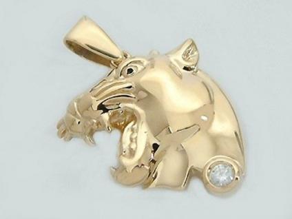 Großer Panther Gold 585 mit Zirkonia - Anhänger - Goldanhänger 14 kt Goldpanther