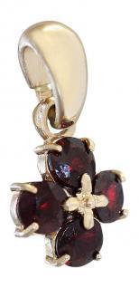 Granatblume - Anhänger Gold 585 mit Granat - Goldanhänger 14 kt - Granatanhänger