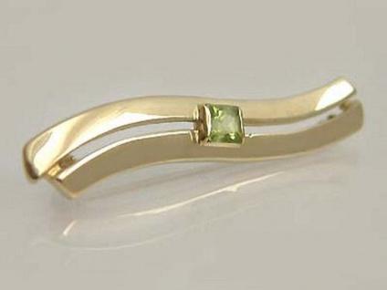 Eleganter Schwung Brosche Gold 585 mit Peridot exclusive Goldbrosche 14 kt