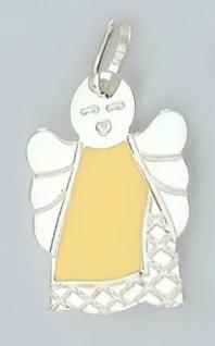 Engel Anhänger Silber 925 Schutzengel tlw gelb emailliert Silberanhänger
