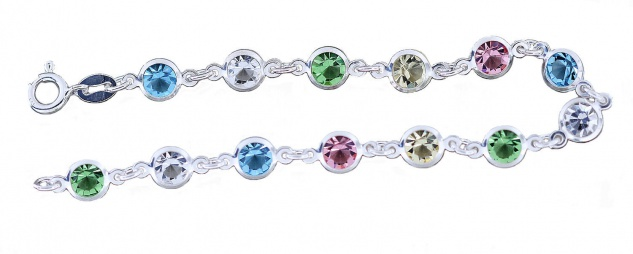 Armband Silber 925 Zirkonias Armkette multicolor Steine pastellfarben 20 cm