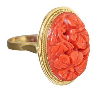 Goldring 750 mit Korallenblumen Ring mit Koralle - Korallenring - Damenring