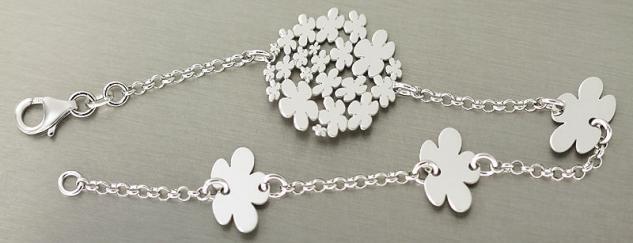 Designer Blumen Armband Silber 925 - Silberarmband Blume - Damen Armkette massiv