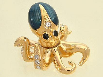 Miniatur zum Sammeln Octopus vergoldet mit Zirkonias und Email Krake