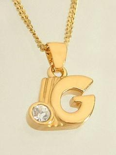 G - Schmuckset - Goldkette pl und Anhänger Buchstabe G mit Panzerkette Gold pl
