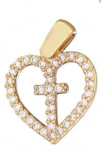 Anhänger Gold 585 Herz mit Kreuz Zirkonias Kettenanhänger Goldherz 14 Karat