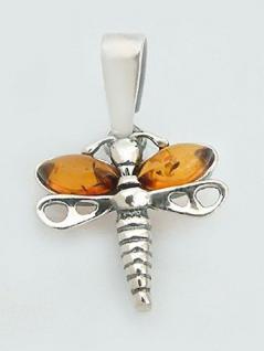 Anhänger kleine Libelle Silber 925 mit Bernstein Silberanhänger Silberlibelle