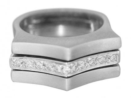 Weißgold 585 Ring massiv mit Brillanten 0, 14 ct. Brillantring 14 Karat WG