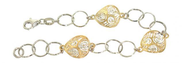 Designerarmband Silber 925 - Silberarmband bicolor - Armband Gold pl - Armkette