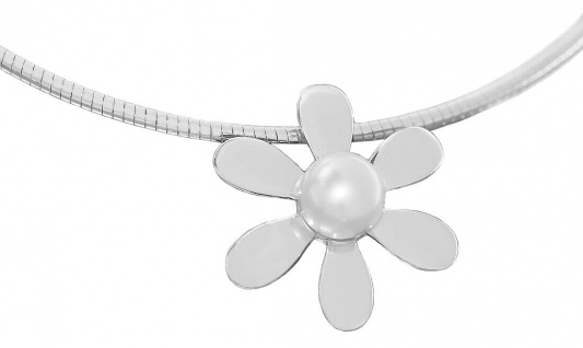 Halsreif Silber 925 Blumen Anhänger mit Perle Margerite Collier Karabiner massiv