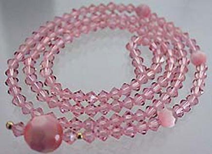 Dekorative Y- Kette rosa facettierte Swarovski Komponenten Halskette Collier - Vorschau