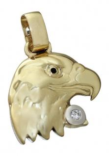 Großer Adlerkopf aus Gold 585 mit Brillant 0, 05 ct. Goldanhänger Adler 14 kt - Vorschau 2