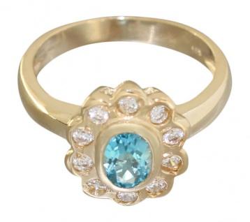 Goldring 585 mit Topas und Zirkonia klassischer Ring Damenring Gold 14 Karat