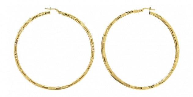 5, 4 cm große Creolen Gold 585 Ohrringe Goldcreolen mit Muster Goldcreole