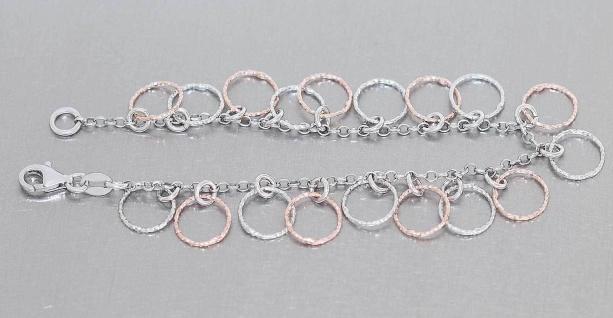 Armband Silber 925 bicolor Bettelarmband Silberarmband Rosegold Armkette massiv