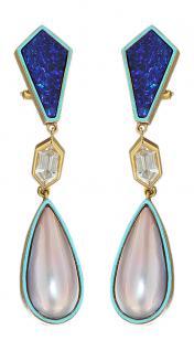 Langer Ohrschmuck Gold 750 mit Opal und Mabe Perle Ohrhänger Ohrring Gold 18 kt