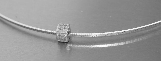 Halsreif Silber 925 massiv Würfel Anhänger Zirkonias Collier Halskette Damen