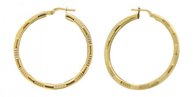 3, 6 cm große Creolen Gold 585 - Ohrringe 14 kt - Goldcreolen - Creole mit Muster