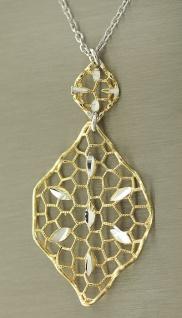 Collier Silber 925 Silberkette und Anhänger Blatt Silber vergoldet Halskette