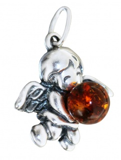 Kleiner Engel Anhänger echt Silber 925 Bernstein Schutzengel Silberengel Engerl