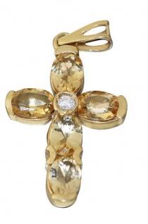 Luxus Kreuz Anhänger Gelbgold od. Weißgold 585 mit Zitrin Goldkreuz 14 Kt Citrin - Vorschau 3