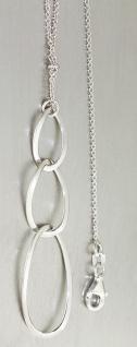 Silberkette 925 massiv langer Anhänger beweglich Collier Karabiner Halskette