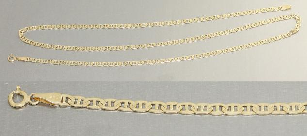Flache breite Goldkette 585 - 61 cm Halskette- Kette Gold 14 kt - lange Kette