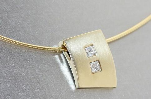Anhänger Gold 585 Zirkonias Lencia Design Kettenanhänger wahlw. mit Halsreif