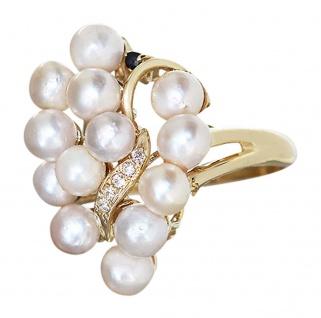 Exclusiver Ring Gold 585 mit Perlen Goldring Perle Perlenring Damenring RW 57