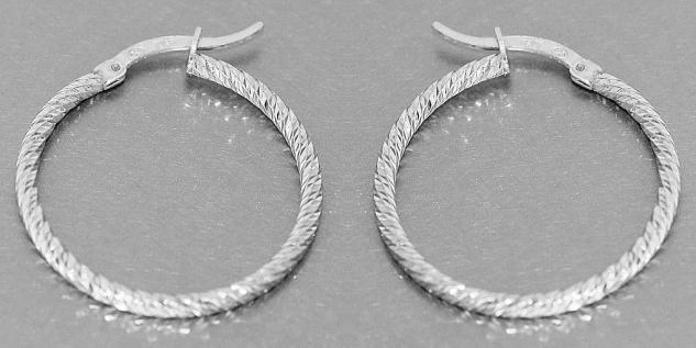 Feine Creolen Silber 925 Ohrringe funkelnd geschliffen Silbercreolen 2, 8 / 4 cm