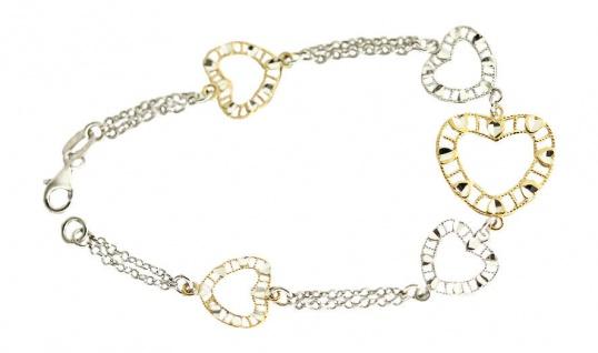Großartiges Silberarmband 925 Armband Silber Herzen Gold Armkette bicolor Herz