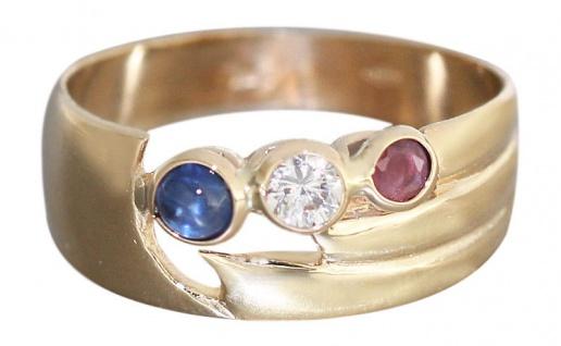 Breiter Goldring 585 mit Rubin Saphir Zirkonia - edler Damenring Ring Gold 14 kt