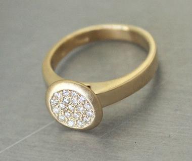 Brillantring Ring aus Gold 585 mit 19 Brillanten massiver Goldring 14 kt