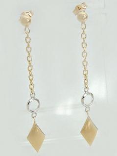 Langer Ohrschmuck Gold 585 zweifärbig Goldohrstecker Ohrringe 14 Karat