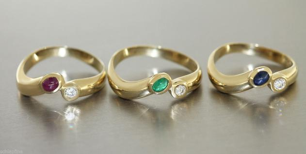 Ring in 14 kt Gold (585/000) mit Rubin oder Safir oder Smaragd und Brillant
