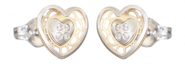 Kleine Herz Ohrstecker Gold 585 bicolor Zirkonias Ohrringe Herzen Kinder Stecker