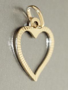 Herz Anhänger Gold 585 Weißgold oder Gelbgold geschliffen Liebeserklärung - Vorschau 3