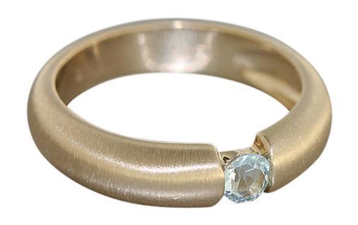 Goldring 585 mit hellblauem Topaz Ring Gold mit Blautopas Solitärring Damenring