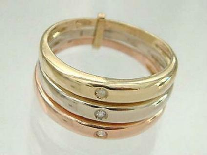 Dreiteiliger Ring in Dreifarbengold 585 mit Brillanten - Goldring - Brillantring