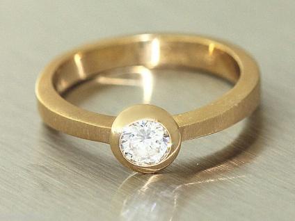 Massiver Solitärring Ring Gold 585 mit Zirkonia Goldring Damenring massiv