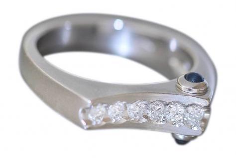 Brillantring 0, 21 ct. Designerring Ring Weißgold 585 Brillant Saphir Goldring